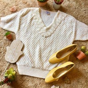 {Vintage} Light Knit White T-shirt Sweater, Bibb
